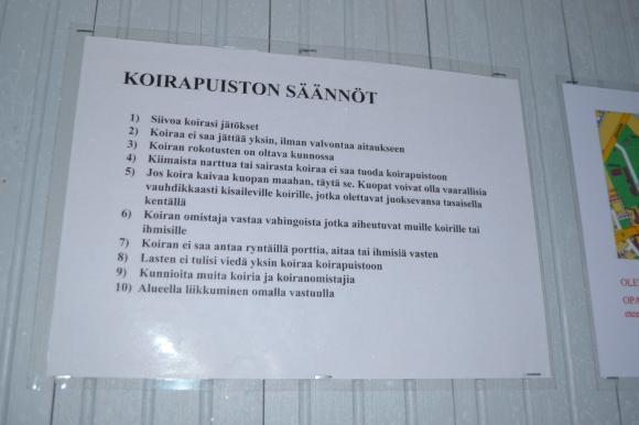 koirapuiston säännöt