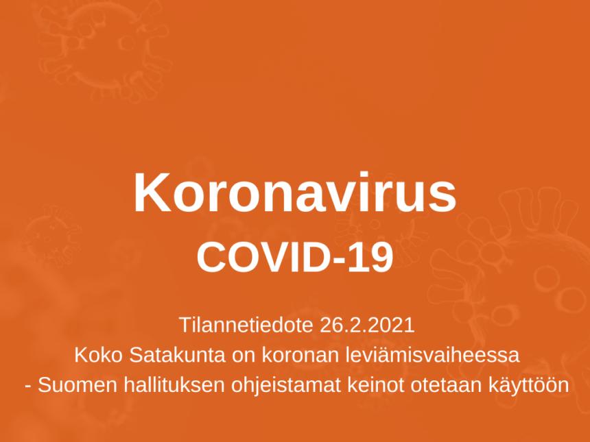 Koko Satakunta on koronan leviämisvaiheessa – Suomen hallituksen ohjeistamat keinot otetaan käyttöön